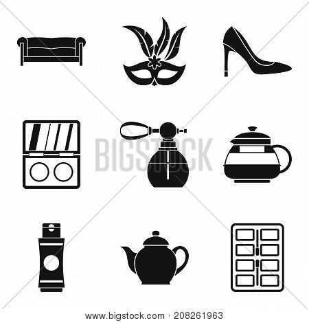 Appearance icons set. Simple set of 9 appearance vector icons for web isolated on white background