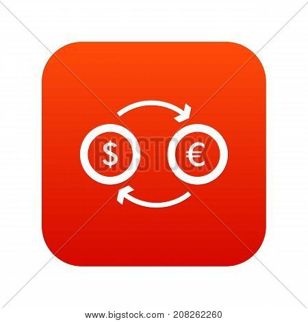 Euro dollar euro exchange icon digital red for any design isolated on white vector illustration