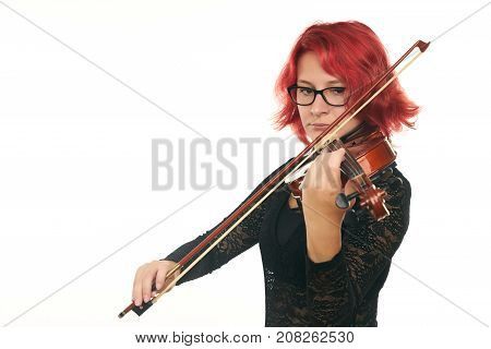 Beautiful Young Red-haired Woman With Glasses Playing Violin