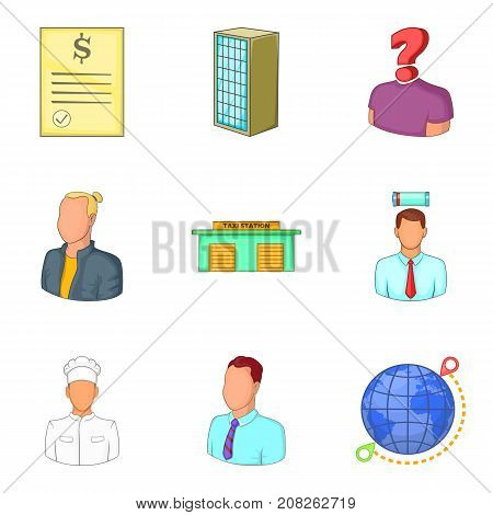Middle management icons set. Cartoon set of 9 middle management vector icons for web isolated on white background