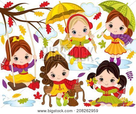 Vector autumn set. Set includes cute little girls with umbrellas, autumn colorful leaves, dog, swing, branch and clouds. Autumn girls vector illustration