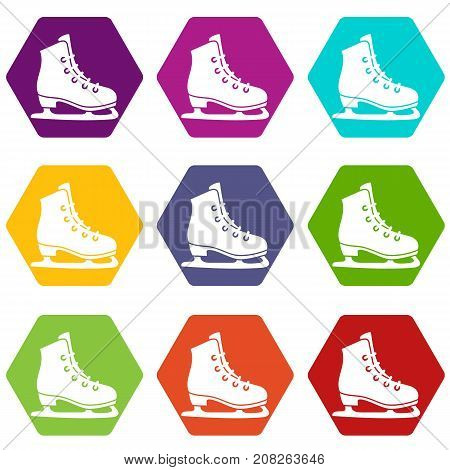 Skates icon set many color hexahedron isolated on white vector illustration