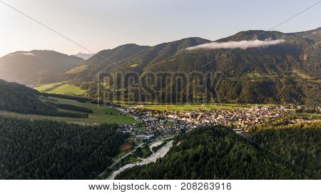 Valley opening towards a small city. Kranjska Gora, Slovenia.
