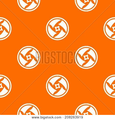 Covered objective pattern repeat seamless in orange color for any design. Vector geometric illustration