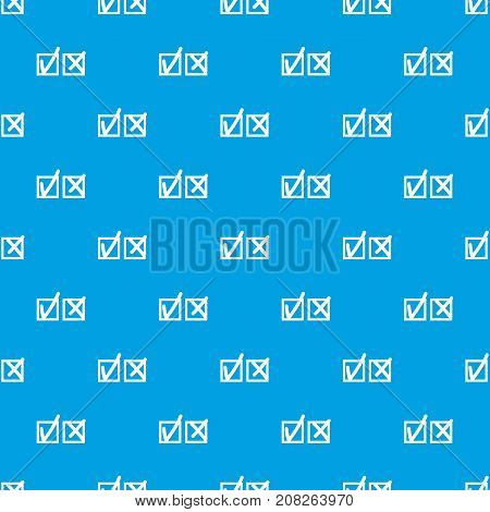 Checkmark to accept and refusal pattern repeat seamless in blue color for any design. Vector geometric illustration