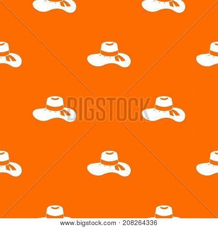 Woman hat pattern repeat seamless in orange color for any design. Vector geometric illustration