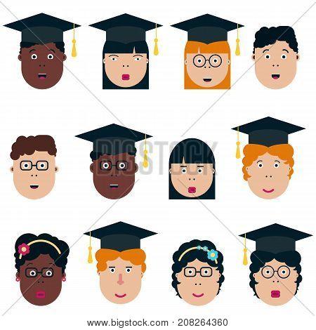 Asian African american children students. Graduation class. School Boys and Girls vector illustration. Graduation students vector set