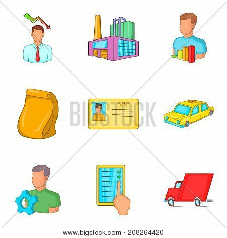 Lot of work icons set. Cartoon set of 9 lot of work vector icons for web isolated on white background