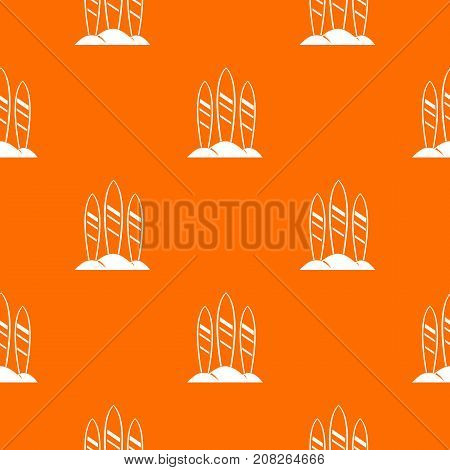 Serfing board pattern repeat seamless in orange color for any design. Vector geometric illustration