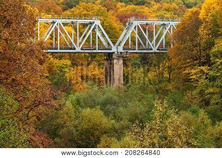 Railroad bridge in autumn landscape of mountain forest