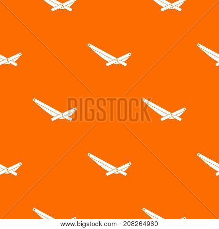 Recliner pattern repeat seamless in orange color for any design. Vector geometric illustration