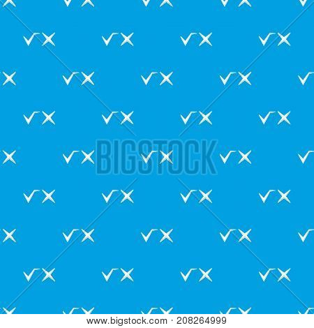 Tick and cross pattern repeat seamless in blue color for any design. Vector geometric illustration