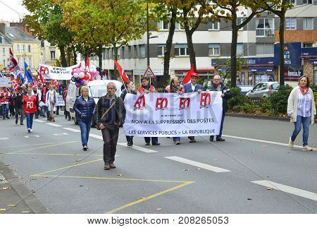 LE MANS FRANCE - OCTOBER 10 2017: People demonstrate during a strike against new laws of a president of France Emmanuel Macron