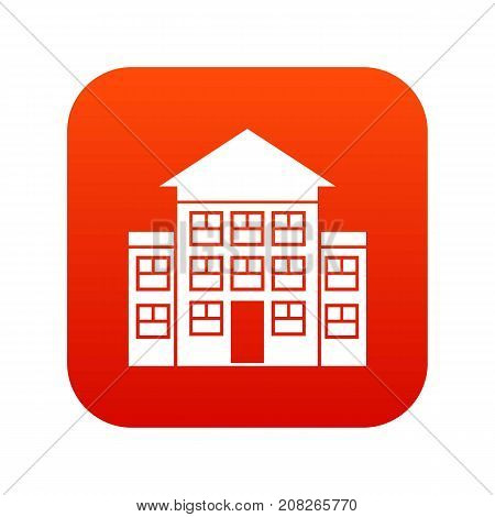 Bank building icon digital red for any design isolated on white vector illustration
