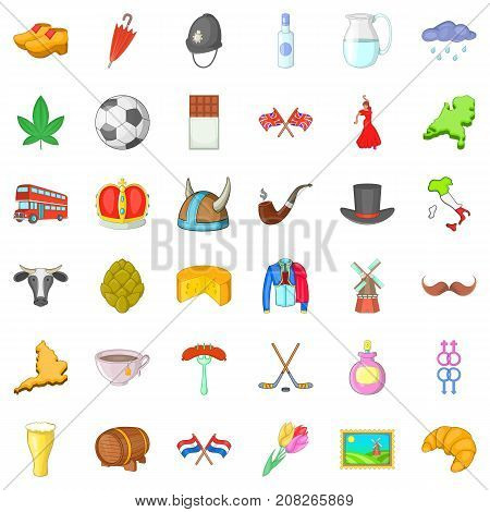 Souvenir icons set. Cartoon style of 36 souvenir vector icons for web isolated on white background
