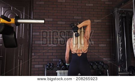 Fitness woman doing a french press with a dumbbell in the gym, back view