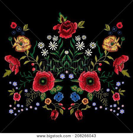 Embroidery traditional pattern with red poppies and roses. Vector embroidered floral patch with flowers for clothing design.