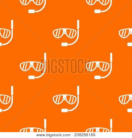 Swimming mask pattern repeat seamless in orange color for any design. Vector geometric illustration