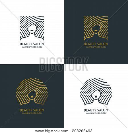 Female Line Illustration. Vector Logo, Emblem Design. Beauty Salon, Makeup Cosmetic, Haircare. Golde