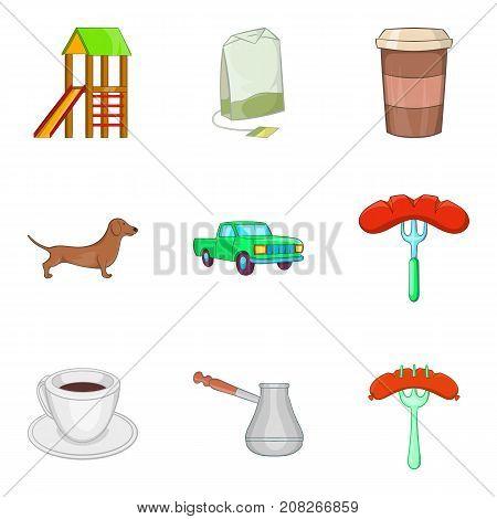 Sleeping area icons set. Cartoon set of 9 sleeping area vector icons for web isolated on white background