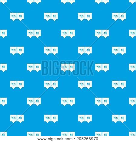 Signs of yes and no pattern repeat seamless in blue color for any design. Vector geometric illustration