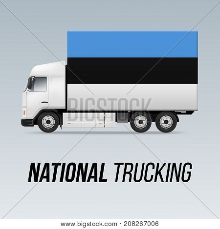 Symbol of National Delivery Truck with Flag of Estonia. National Trucking Icon and Estonian flag