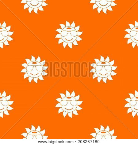 Sun pattern repeat seamless in orange color for any design. Vector geometric illustration