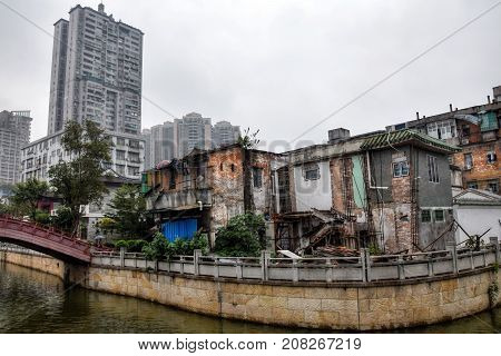 The old town of Canton city. The old and the new architecture of Canton, the metropolis of Guangdong province in China.
