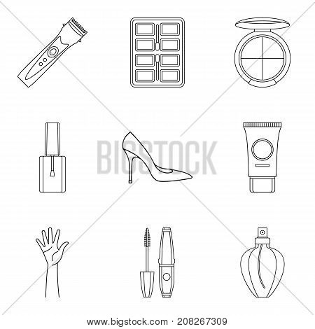 Cosmetology icons set. Outline set of 9 cosmetology vector icons for web isolated on white background