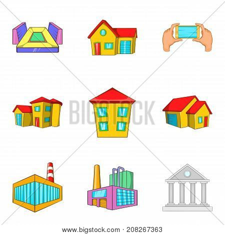 Dirty district icons set. Cartoon set of 9 dirty district vector icons for web isolated on white background