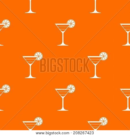 Cocktail pattern repeat seamless in orange color for any design. Vector geometric illustration