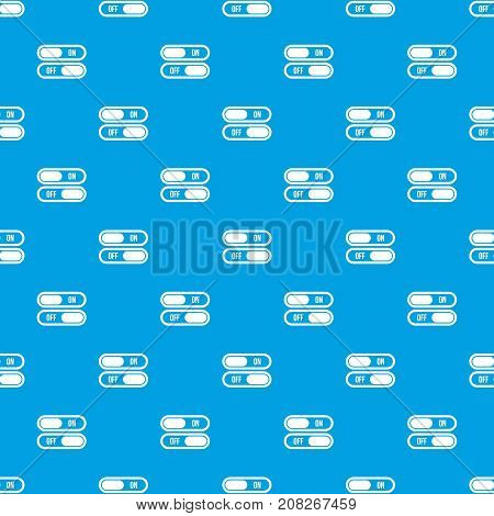 Button on and off pattern repeat seamless in blue color for any design. Vector geometric illustration