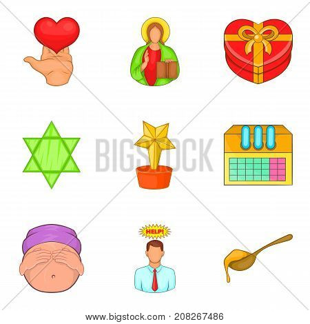 Care help icons set. Cartoon set of 9 care help vector icons for web isolated on white background