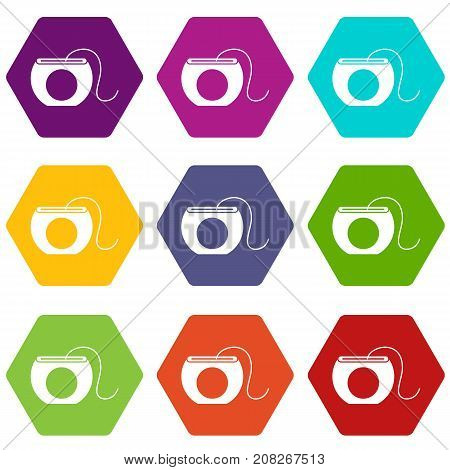 Dental floss icon set many color hexahedron isolated on white vector illustration