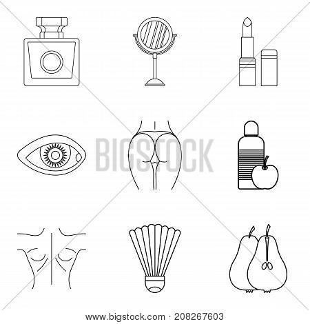Strong body icons set. Outline set of 9 strong body vector icons for web isolated on white background