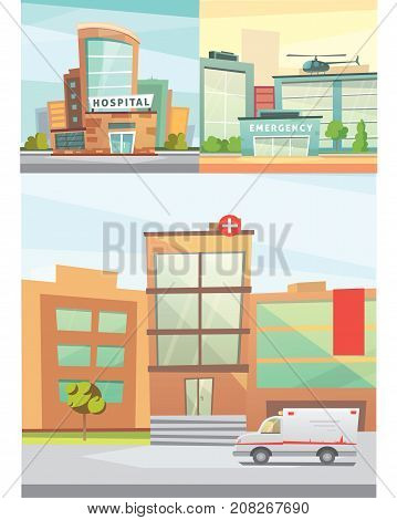 Hospital building cartoon modern vector illustration. Medical Clinic and city background. Emergency room exterior.