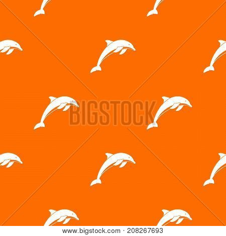 Dolphin pattern repeat seamless in orange color for any design. Vector geometric illustration