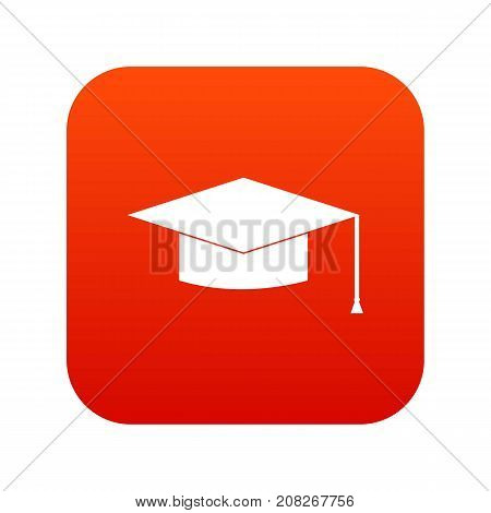 Graduation cap icon digital red for any design isolated on white vector illustration