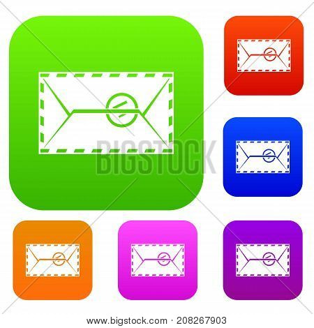 Mail envelope with a stamp set icon color in flat style isolated on white. Collection sings vector illustration