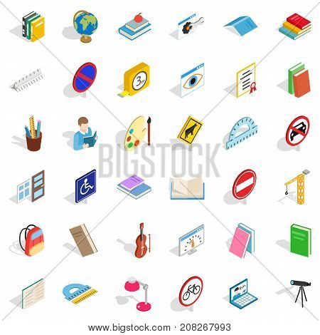 Exam icons set. Isometric style of 36 exam vector icons for web isolated on white background