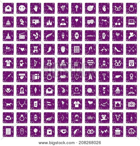 100 heart icons set in grunge style purple color isolated on white background vector illustration