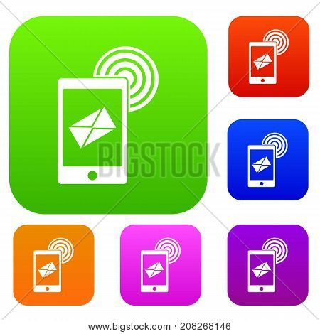 Mobile mail sign set icon color in flat style isolated on white. Collection sings vector illustration
