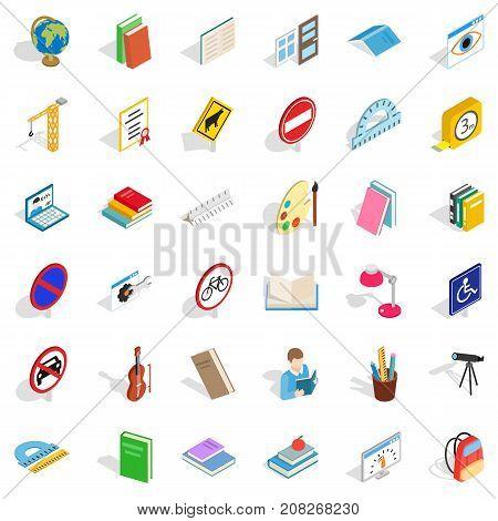 Examination icons set. Isometric style of 36 examination vector icons for web isolated on white background