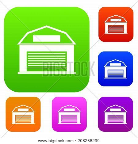 Industrial building set icon color in flat style isolated on white. Collection sings vector illustration