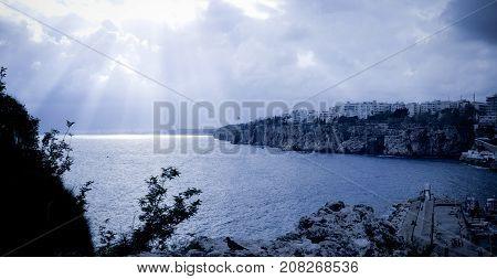 Blue Nightfall on the Sea at Antalya
