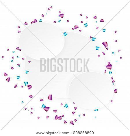 Falling paper confetti holiday background. White border mockup template for celebration shiny falling festive carnival shimmer.