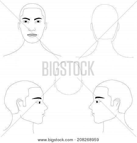 Isolated vector black and white men's heads in different projections. Face and hairline