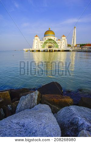 Malacca Straits Mosque ( Masjid Selat Melaka), It Is A Mosque Located On The Man-made Malacca Island