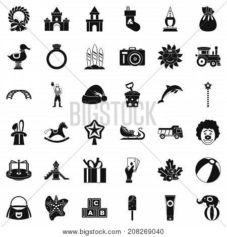 Childhood icons set. Simple style of 36 childhood vector icons for web isolated on white background