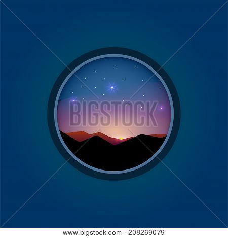 sunrise sunbeams hill. Vector banner landscape in flat style. Travel illustration in circle frame with long shadow. Origami paper background. Outdoor nature season adventure graphic.
